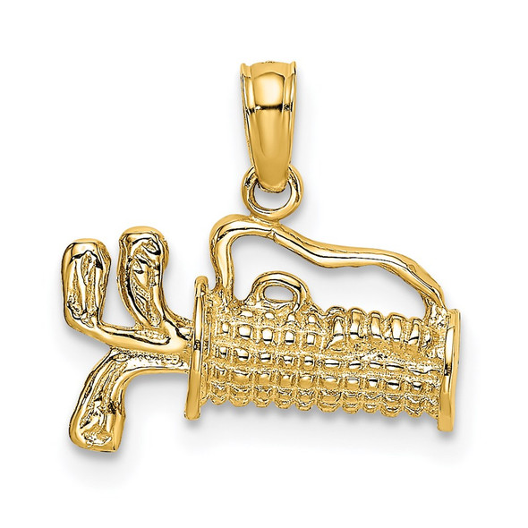 14k Yellow Gold 2-D Textured and Engraved Golf Bag Pendant