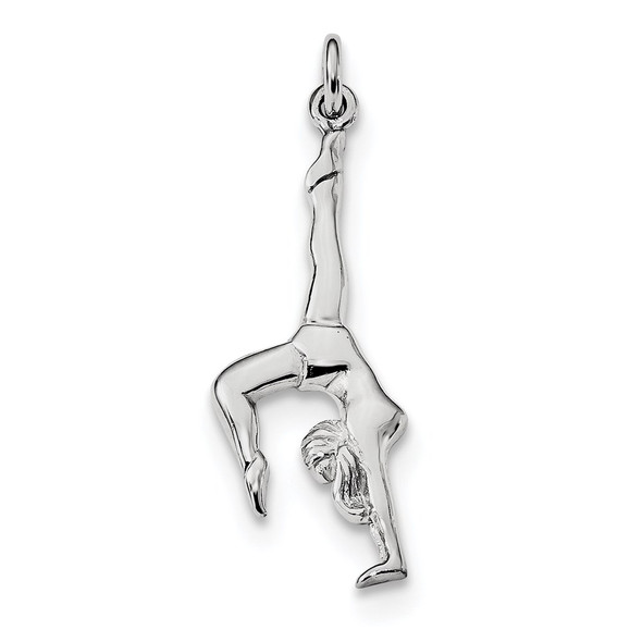 Sterling Silver Rhodium-plated Polished Gymnast Pendant