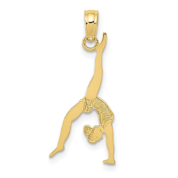 10k Yellow Gold Solid Polished Gymnast Pendant