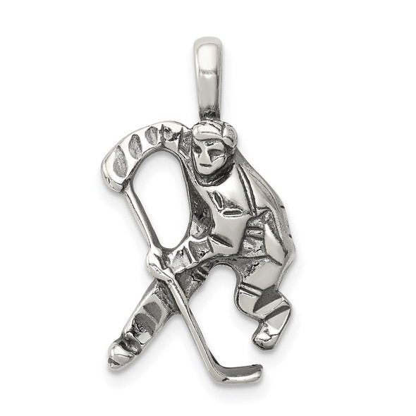 Sterling Silver Antiqued Hockey Player Pendant QC4149