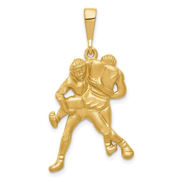 14k Yellow Gold Satin and Diamond-cut Wrestling Pendant