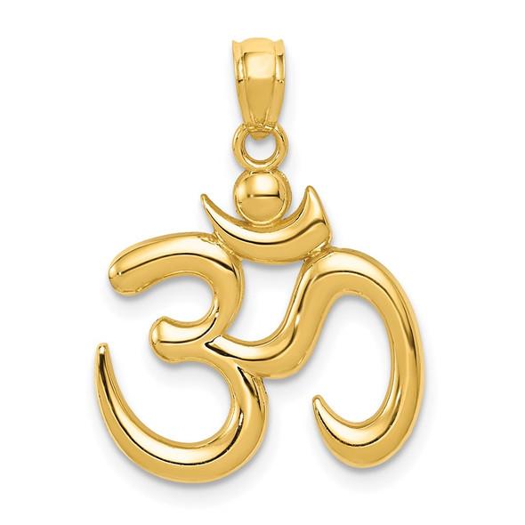 14k Yellow Gold Polished Om Symbol Pendant K6148