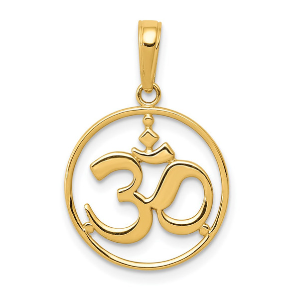 14k Yellow Gold Cut-Out Round Frame Yoga Om Symbol Pendant