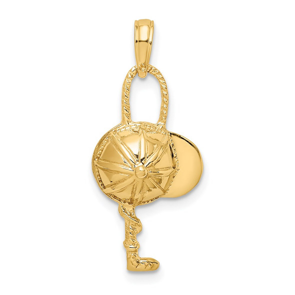 14k Yellow Gold 2-D Jockey Helmet and Crop Pendant