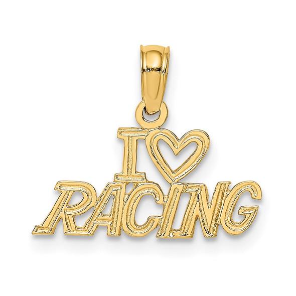 14k Yellow Gold I Heart Racing Pendant