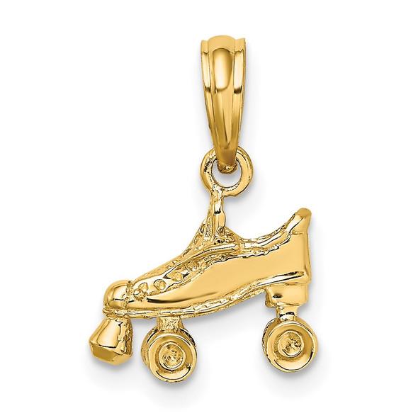 14k Yellow Gold 3-D Roller Skate Pendant D4267