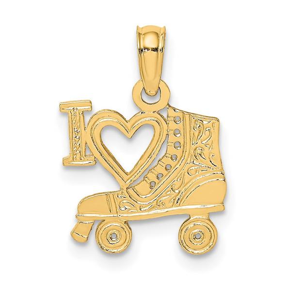 14k Yellow Gold I HEART w/Roller Skate Pendant