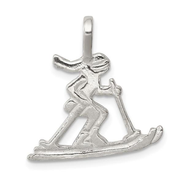 Sterling Silver Skier Pendant