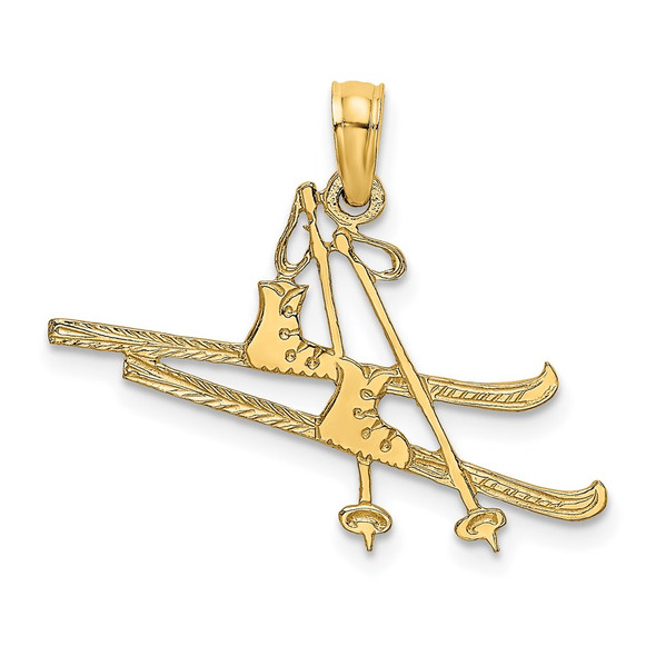 14k Yellow Gold Polished and Engraved Snow Skies, Boot and Pole Pendant