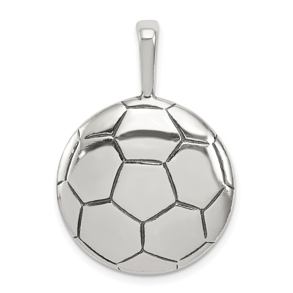 Sterling Silver Antiqued Soccer Ball Pendant QC4141