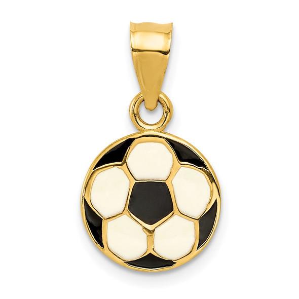 14k Yellow Gold Enameled Soccer Ball Pendant K2088