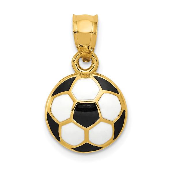 14k Yellow Gold Enameled Soccer Ball Pendant K2089