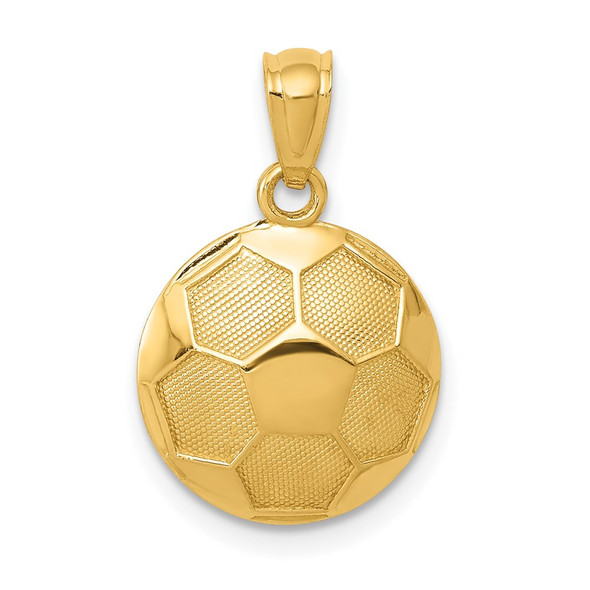 14k Yellow Gold Soccer Ball Pendant C3579
