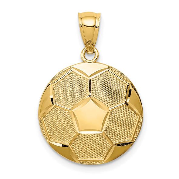14k Yellow Gold Soccer Pendant