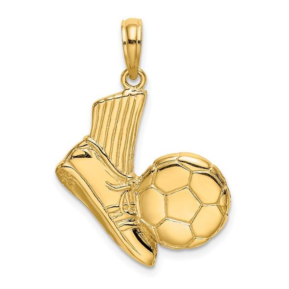 14k Yellow Gold 2-D Soccer Shoe Kicking Ball Pendant