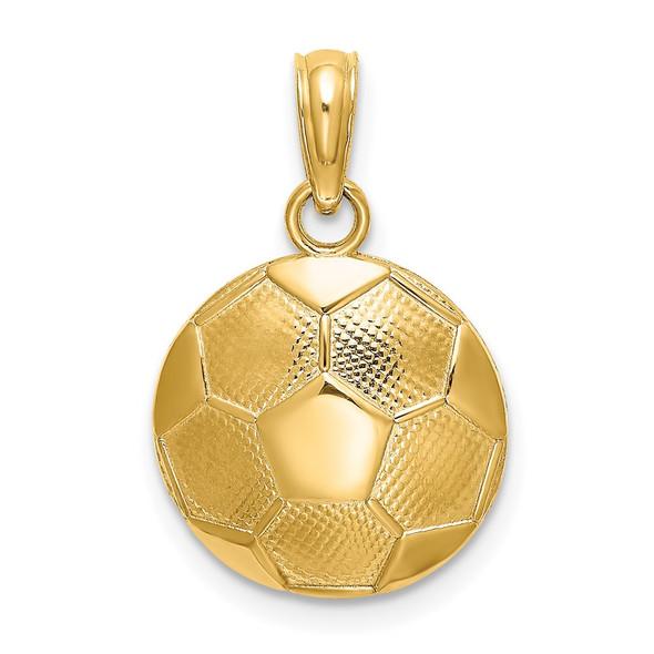 14k Yellow Gold Soccer Ball Pendant