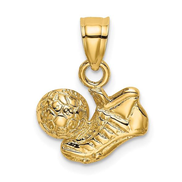 14k Yellow Gold Soccer Ball w/Shoe Pendant
