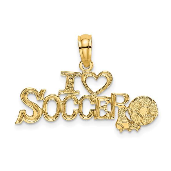 14k Yellow Gold I Heart Soccer w/Soccer Ball Pendant