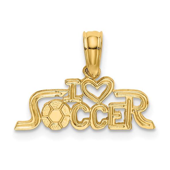 14k Yellow Gold I Heart Soccer Pendant