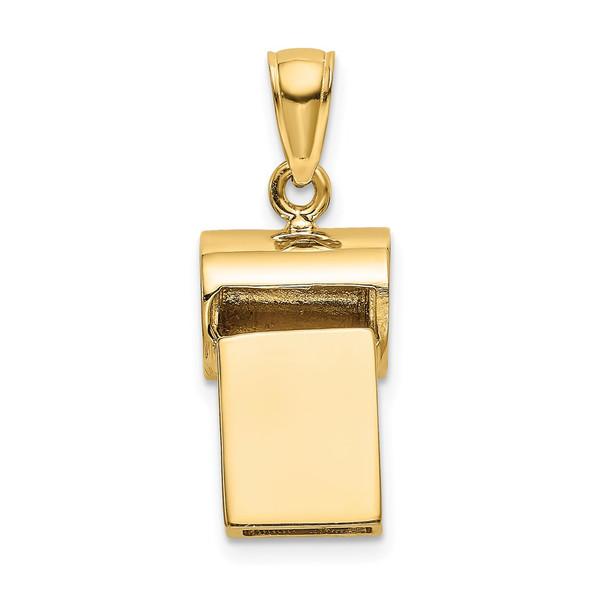 14k Yellow Gold 3-D Whistle Pendant