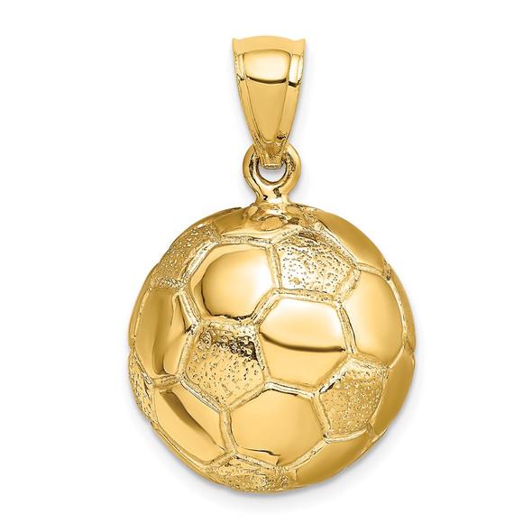 14k Yellow Gold 3-D Soccerball Pendant