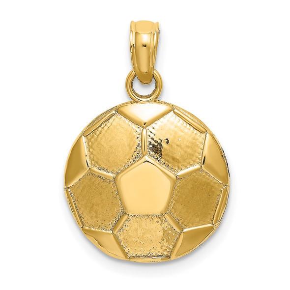 14k Yellow Gold 2-D Engravable Soccer Ball Pendant