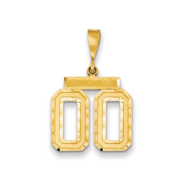 14k Yellow Gold Medium Diamond-Cut Number 00 Pendant