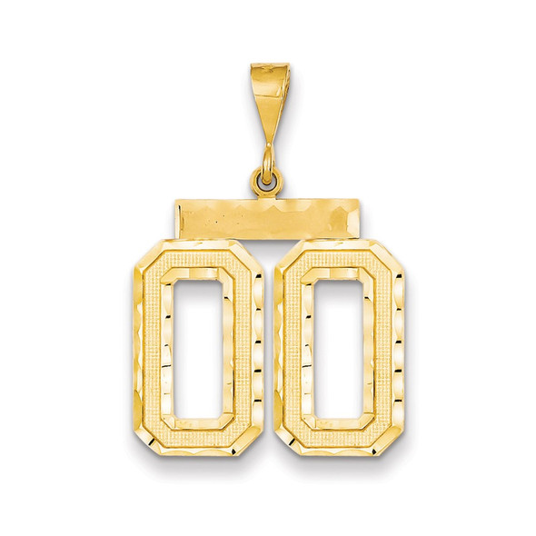 14k Yellow Gold Large Diamond-Cut Number 00 On Top Pendant