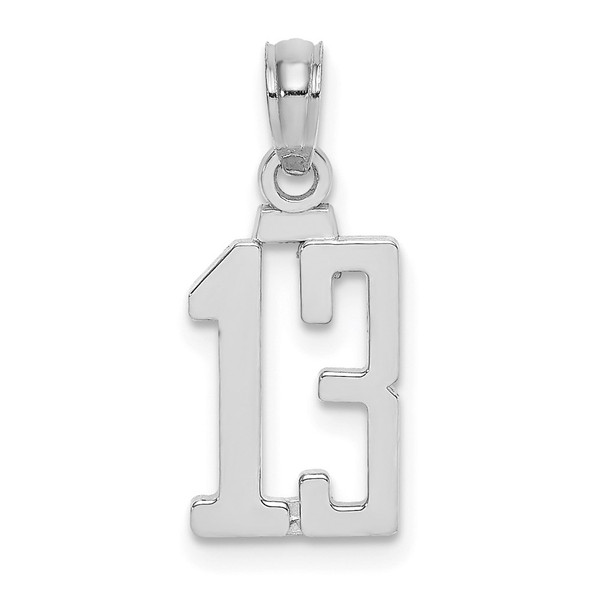 14K White Gold Polished Number 13 Pendant