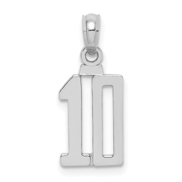 14K White Gold Polished Number 10 Pendant