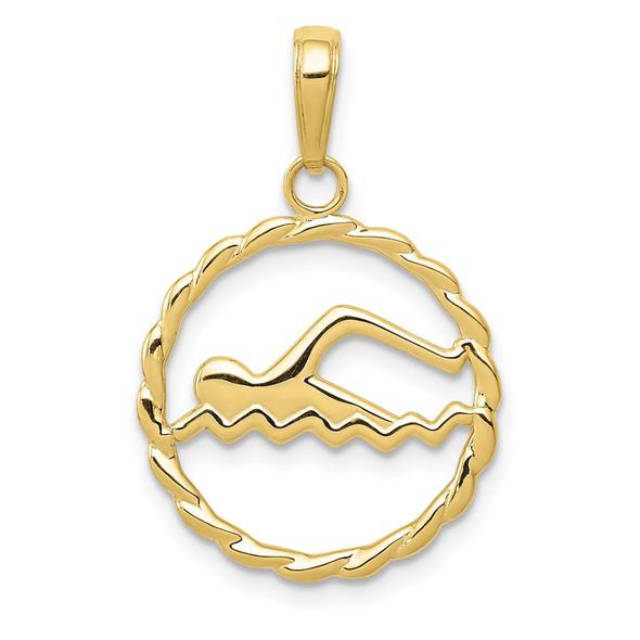 10k Yellow Gold Swimming Inside Frame Pendant