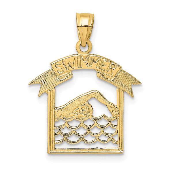 14k Yellow Gold Swimmer In Frame Pendant