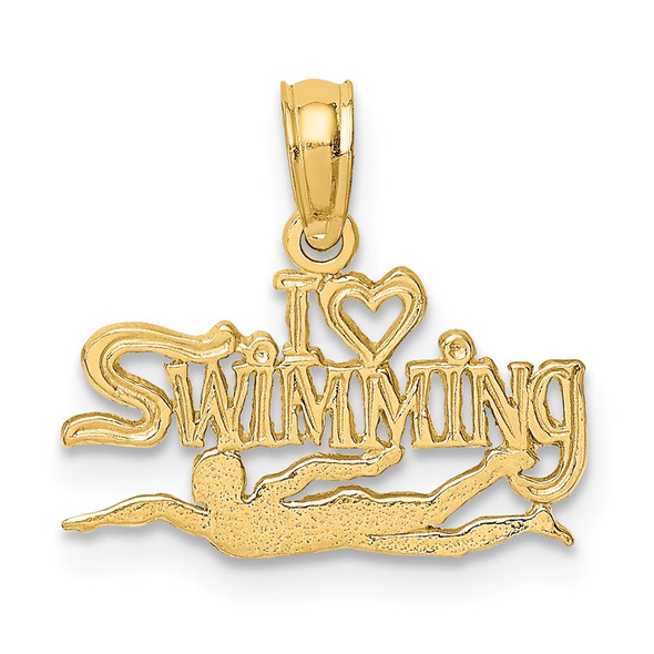 14k Yellow Gold Polished and Engraved I Heart Swimming Pendant