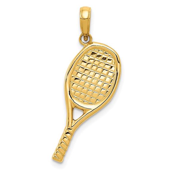 14k Yellow Gold 3-D Racquetball Pendant