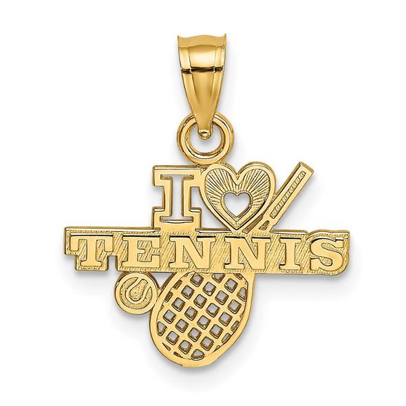 14k Yellow Gold I Heart Tennis Pendant K3570