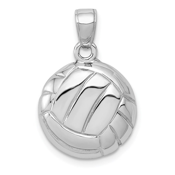 14K White Gold Polished Open-Backed Volleyball Pendant