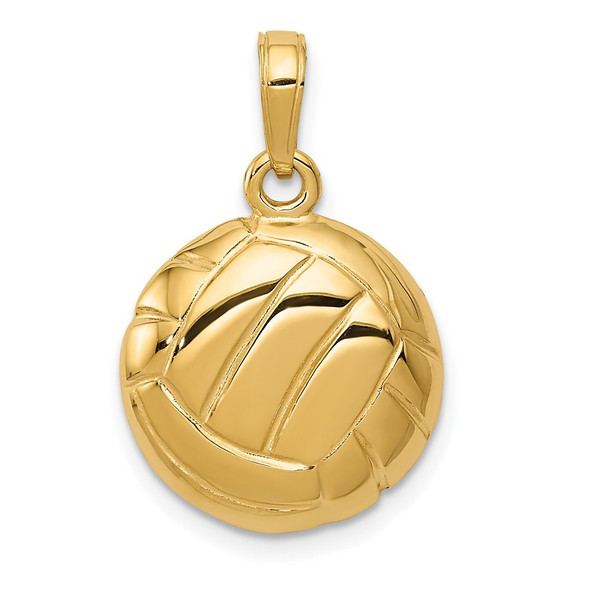 14k Yellow Gold Polished Open-Backed Volleyball Pendant