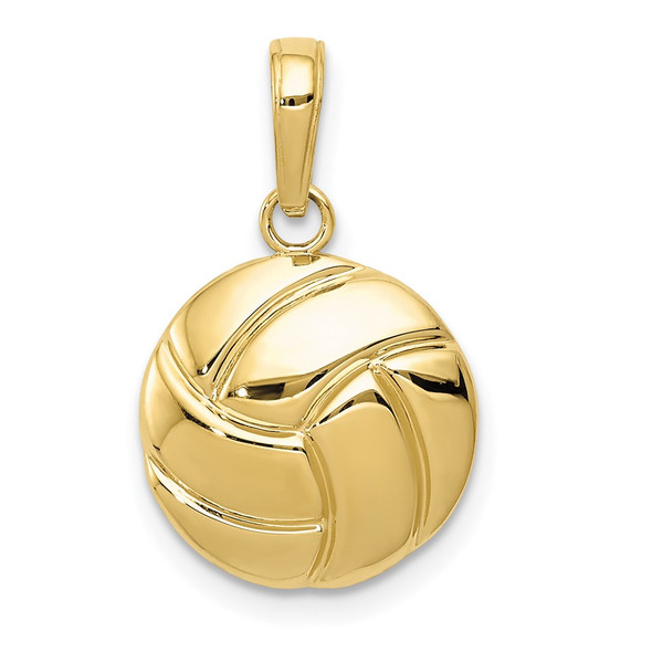 10k Yellow Gold Polished Volleyball Pendant