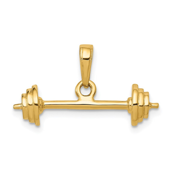 14k Yellow Gold 3-D Barbell Pendant