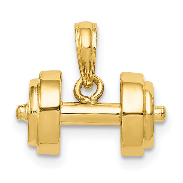14k Yellow Gold 3-D Single Barbell Pendant