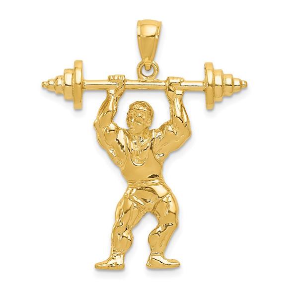 14k Yellow Gold Bodybuilder w/Weights Pendant