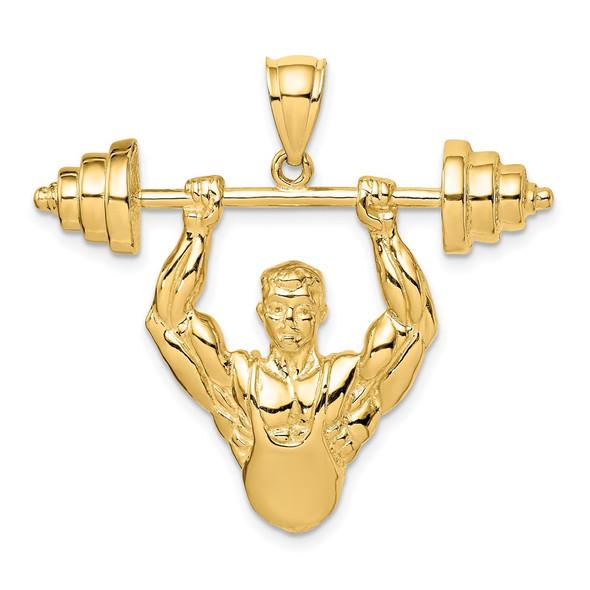14k Yellow Gold Bodybuilder Pendant