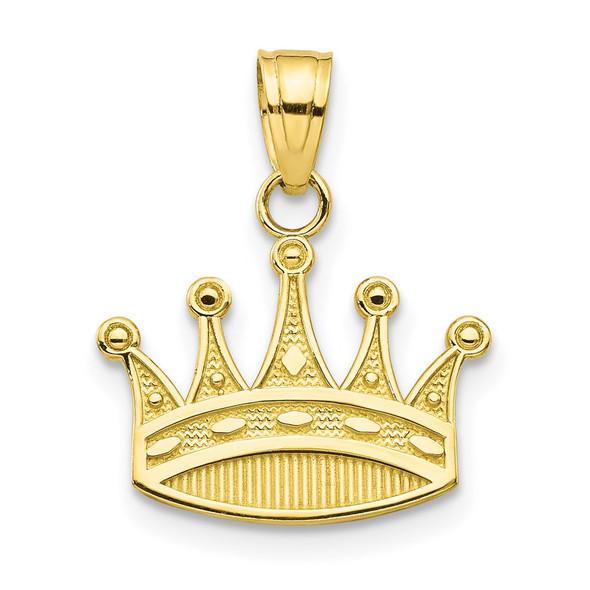 10k Yellow Gold Crown Pendant 10C988