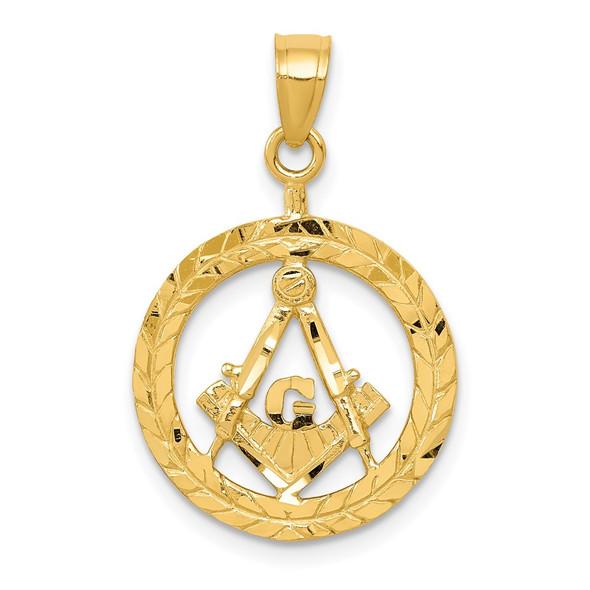 14k Yellow Gold Masonic Symbol In Wreath Pendant