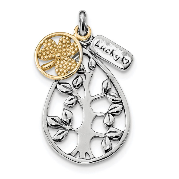 Sterling Silver Rhodium-Plated and Gold-tone Tree, Lucky and Clover Pendant
