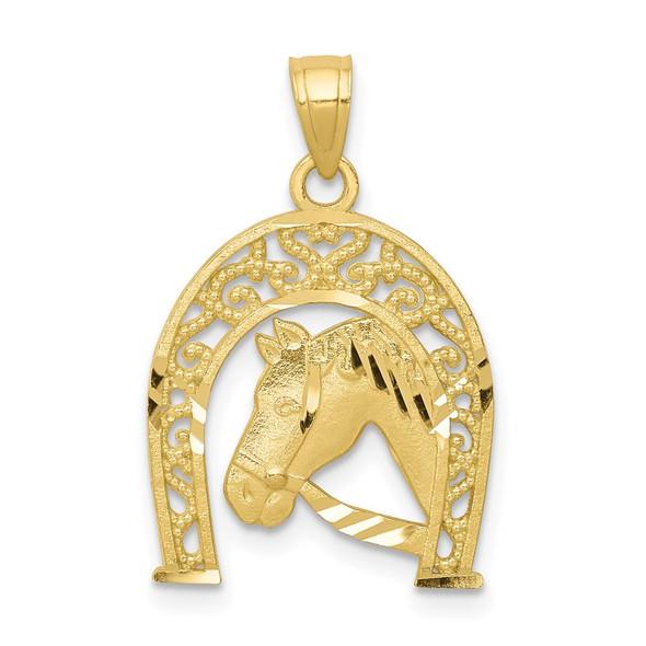 10k Yellow Gold Good Luck Horseshoe w/Horse Pendant 10C1028