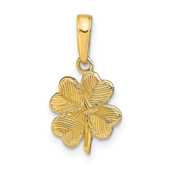 14k Yellow Gold Polished and Textured 4-Leaf Clover Pendant