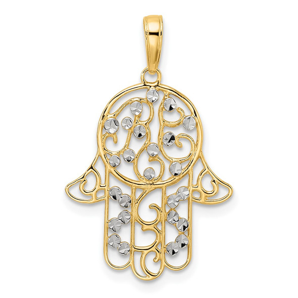 14k Yellow Gold and White Rhodium Diamond-cut Fancy Hamsa Pendant