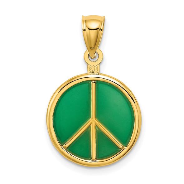 14k Yellow Gold 3-D Green Enameled Peace Symbol Pendant