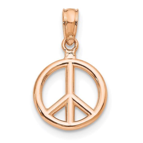 14k Rose Gold 3-D Peace Symbol Pendant D4053R